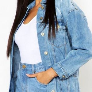 Oversized jean jacket from boohoo website.